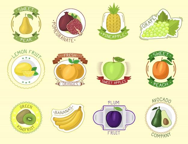 Emblemas de frutas. Vetor Premium