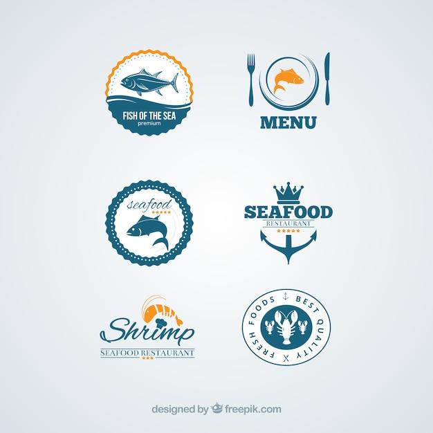 Emblemas de frutos do mar Vetor Premium