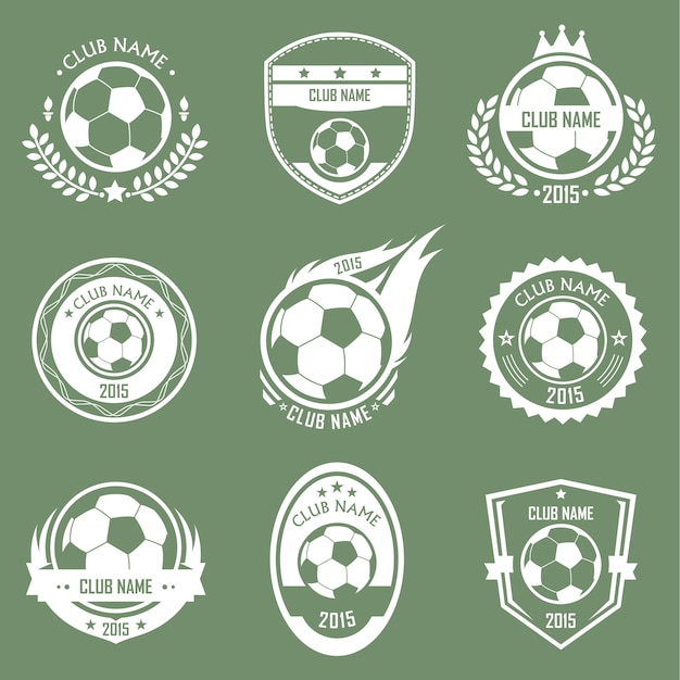 Emblemas de futebol Vetor Premium
