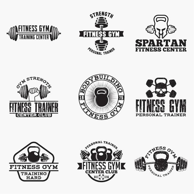 Emblemas de logotipo de aptidão Vetor Premium