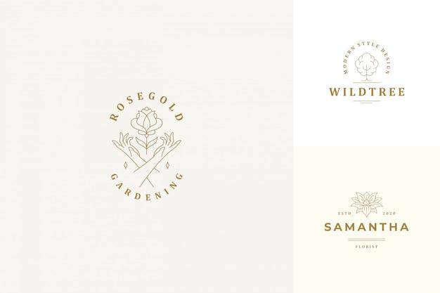 Emblemas de logotipos vetor linha design conjunto de modelos - gesto feminino mãos e estilo linear de ilustrações de flores rosa Vetor Premium