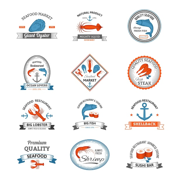 Emblemas de marisco coloridos Vetor grátis