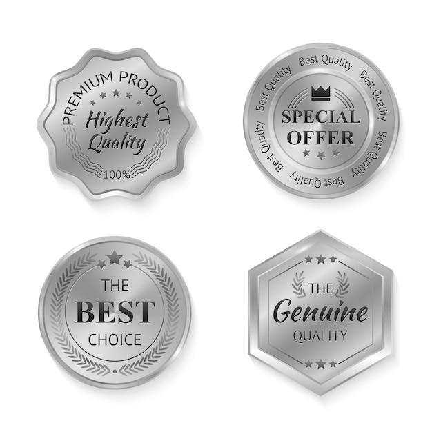 Emblemas de metal prata Vetor grátis