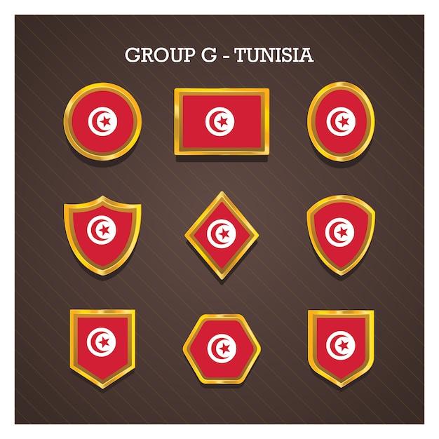 Emblemas de moldura dourada com bandeiras do país copa do mundo - tunísia Vetor Premium