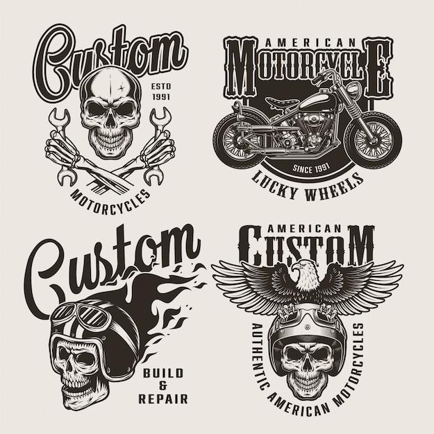 Emblemas de moto personalizados vintage Vetor grátis