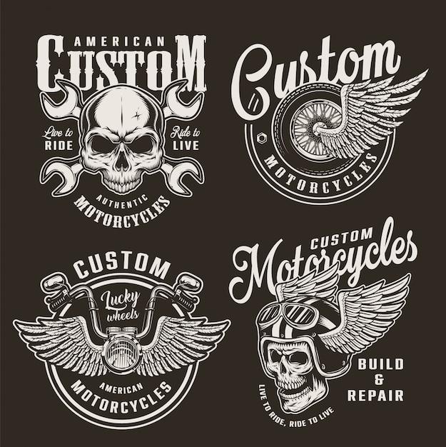 Emblemas de motocicleta personalizada monocromática vintage Vetor grátis