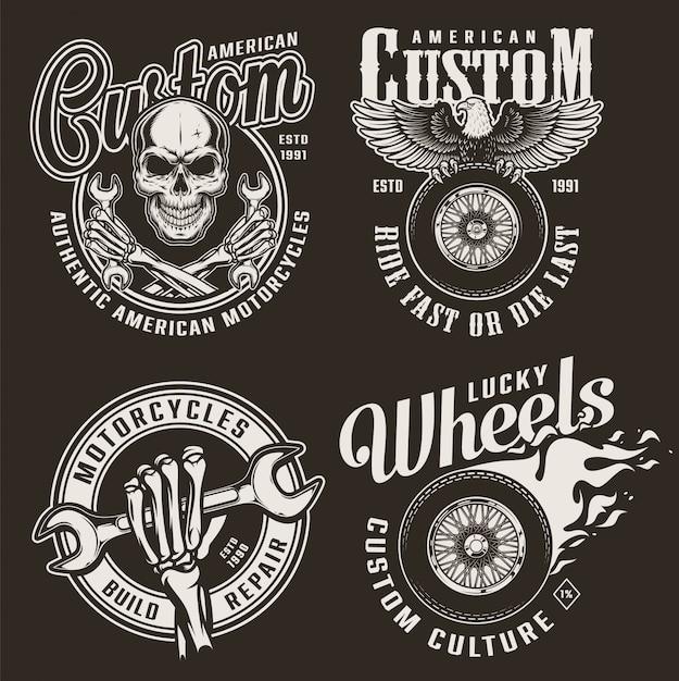Emblemas de motocicleta personalizada monocromática Vetor grátis