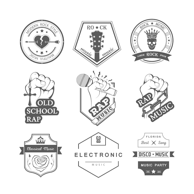 Emblemas de música Vetor Premium