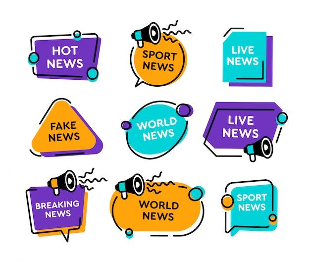 Emblemas de notícias e banners plana coleção de ícone Vetor grátis