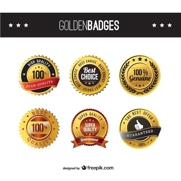 Emblemas de ouro de alta qualidade Vetor Premium