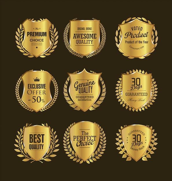 Emblemas de ouro Vetor Premium