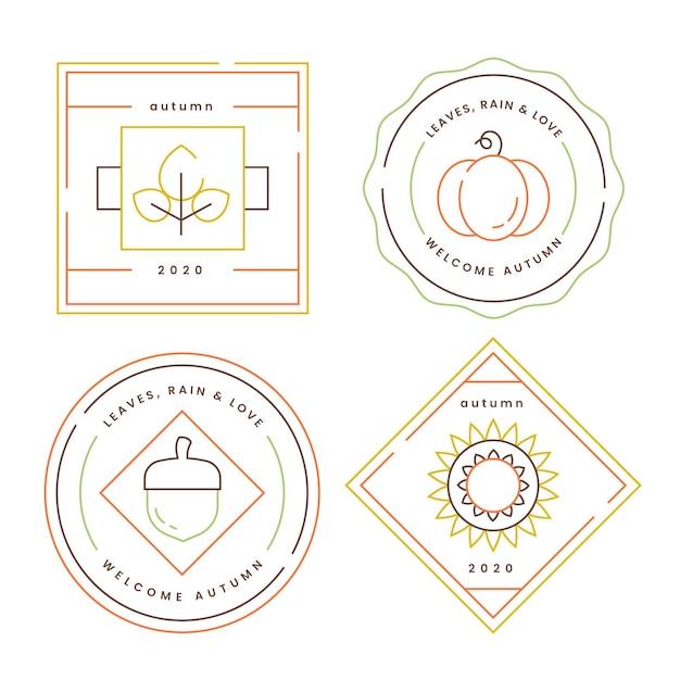 Emblemas de outono de design plano Vetor Premium