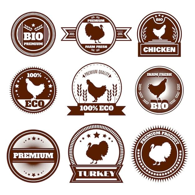 Emblemas de peru de frango fazenda eco Vetor grátis