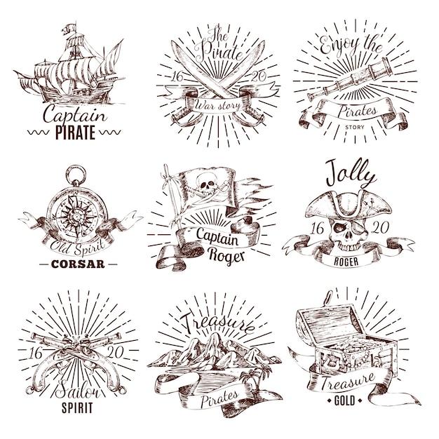 Emblemas de pirata desenhados à mão com o tesouro de um veleiro com bandeira de roger Vetor grátis