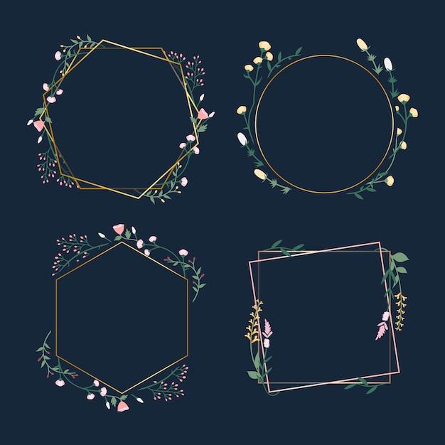 Emblemas de quadro floral Vetor grátis