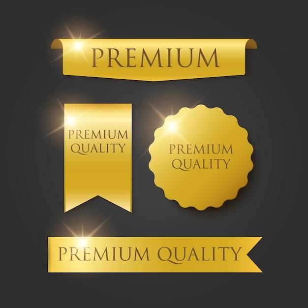 Emblemas de qualidade premium e tags isoladas em preto Vetor Premium