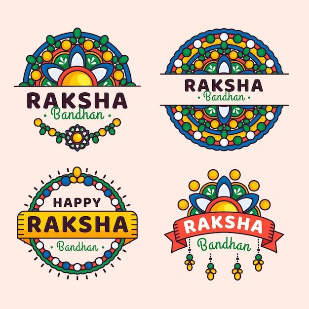 Emblemas de raksha bandhan plana Vetor grátis