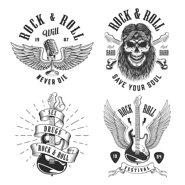 Emblemas de rock and roll Vetor grátis