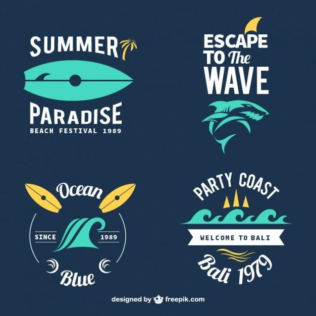 Emblemas de surf elegantes Vetor grátis