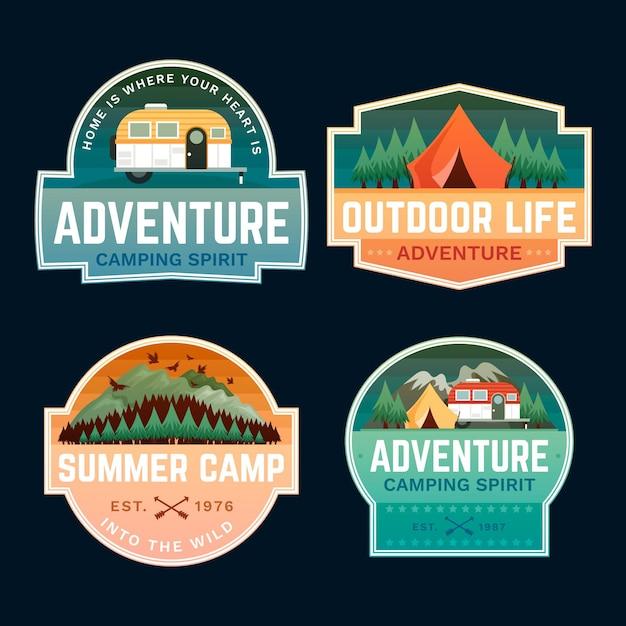 Emblemas de tenda e aventura ao ar livre Vetor grátis