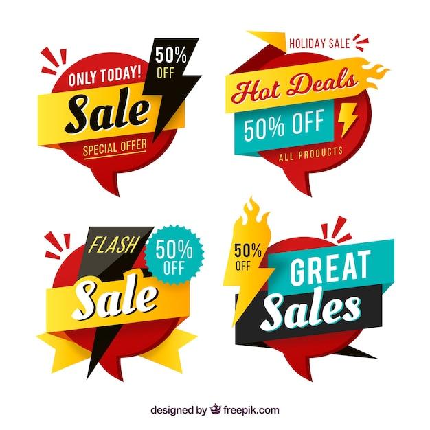 Emblemas de venda com design plano Vetor grátis