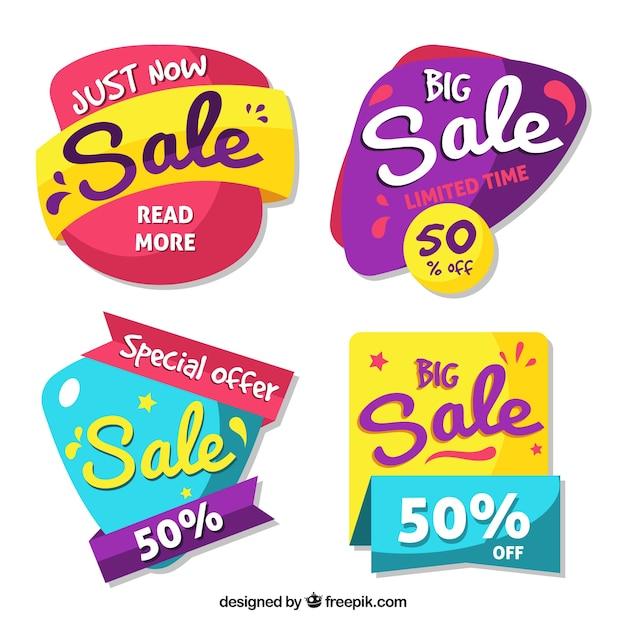 Emblemas de venda com estilo divertido Vetor grátis