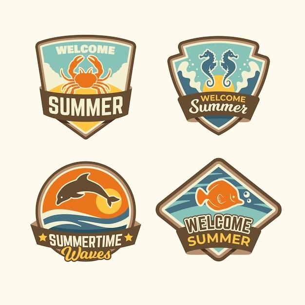 Emblemas de verão vintage Vetor grátis