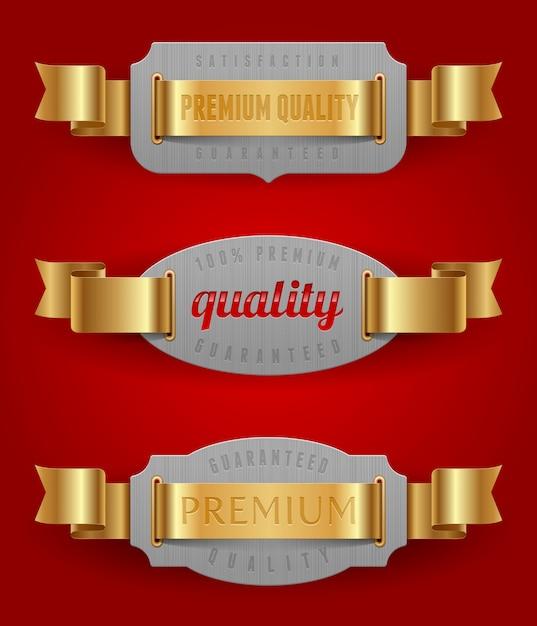 Emblemas decorativos de qualidade com fitas douradas - ilustração Vetor Premium