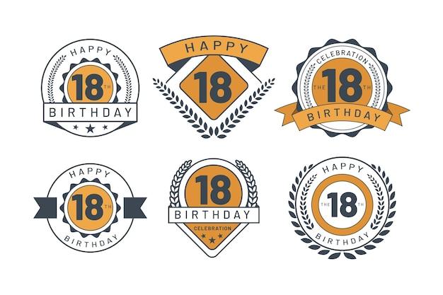 Emblemas do 18º aniversário Vetor grátis