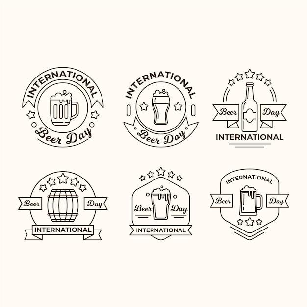 Emblemas do dia internacional da cerveja Vetor grátis
