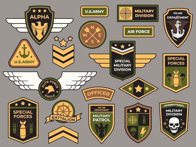 Emblemas do exército. conjunto de remendo militar, sinal de capitão da força aérea e emblemas de insígnia de para-quedista Vetor Premium