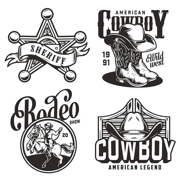 Emblemas do oeste selvagem monocromático vintage Vetor grátis