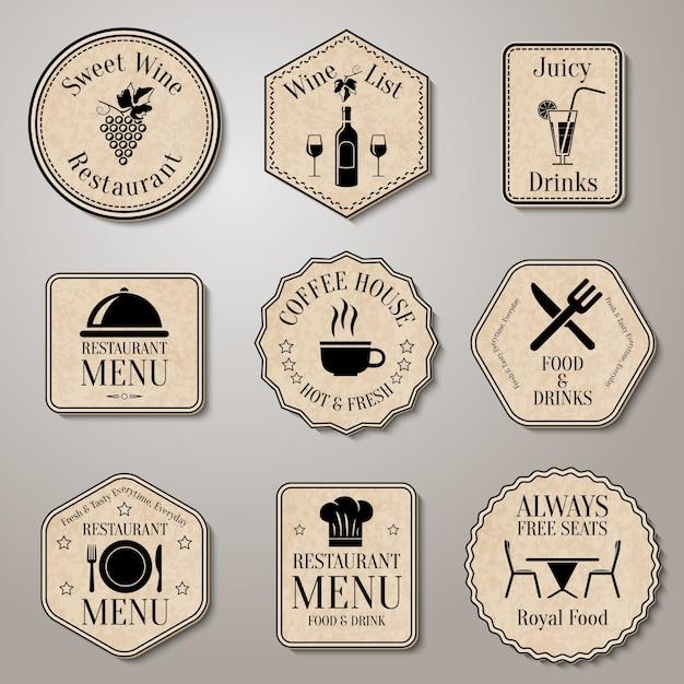 Emblemas do restaurante do vintage Vetor grátis