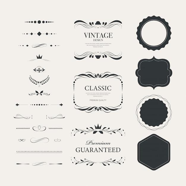 Emblemas do vintage ajustados com luxo decorativo do ornamento. Vetor Premium
