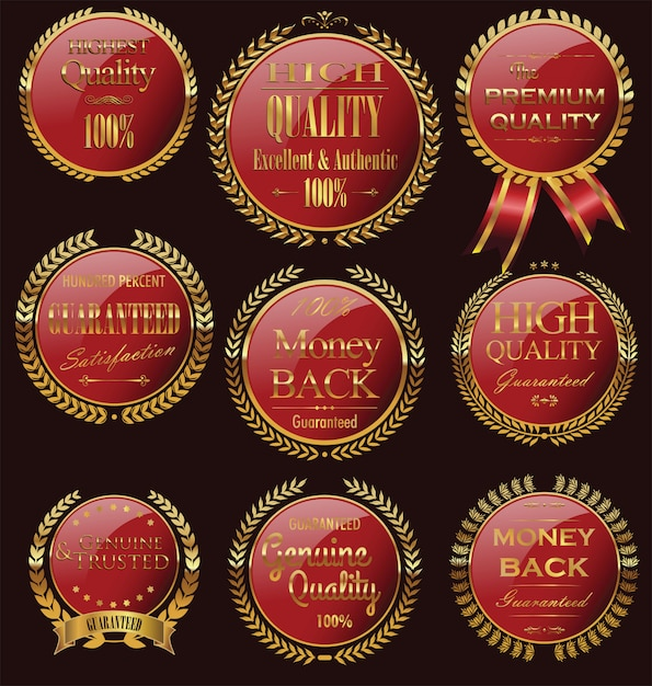 Emblemas dourados Vetor Premium