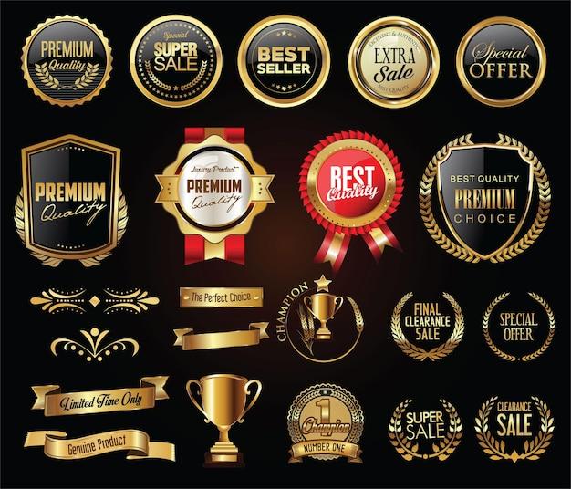Emblemas e etiquetas de luxo com coleção de ouro e prata com coroa de louros Vetor Premium