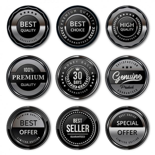 Emblemas e etiquetas de luxo premium preto e prata Vetor Premium