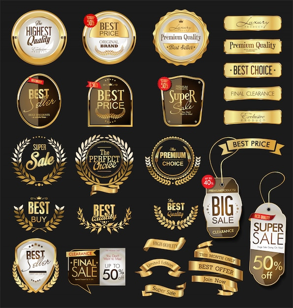 Emblemas e etiquetas de ouro premium de luxo Vetor Premium