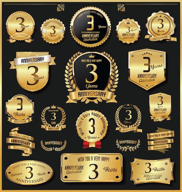 Emblemas e etiquetas de ouro retrô vintage de aniversário vector Vetor Premium
