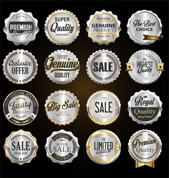 Emblemas e etiquetas de prata de qualidade premium Vetor Premium