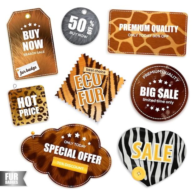 Emblemas e etiquetas de venda de peles Vetor grátis
