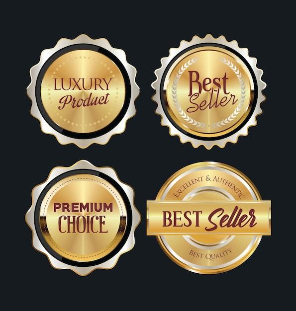 Emblemas e etiquetas douradas Vetor Premium