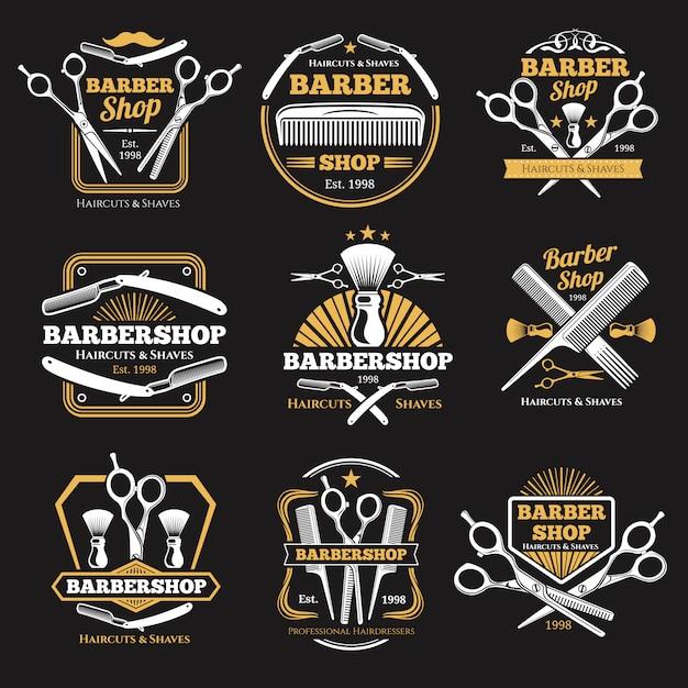 Emblemas e etiquetas velhas do vetor do barbeiro. sinais de corte de cabelo masculino vintage Vetor Premium