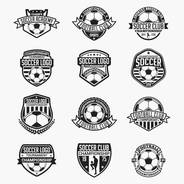 Emblemas e logotipos de futebol Vetor Premium