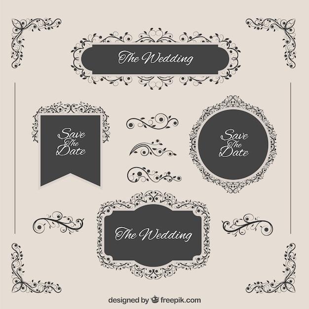 emblemas elegantes do casamento Vetor Premium