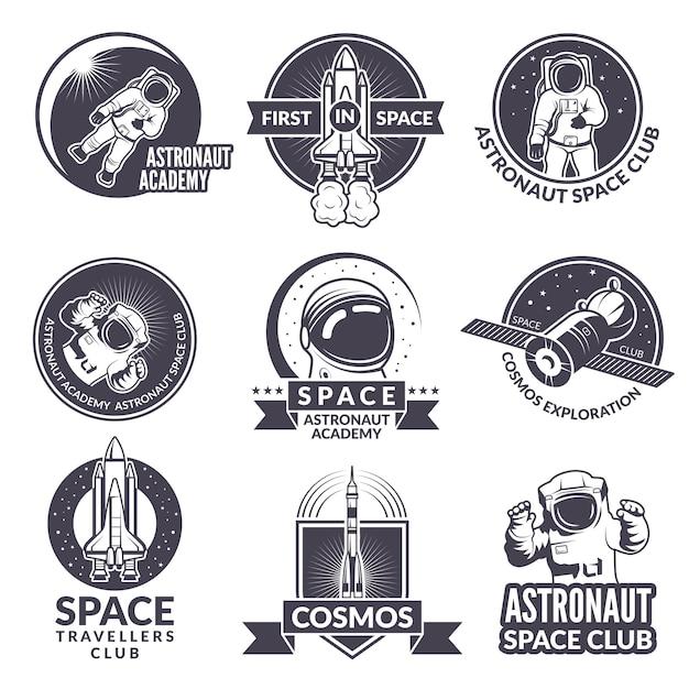 Emblemas, etiquetas ou logotipos do tema do espaço Vetor Premium