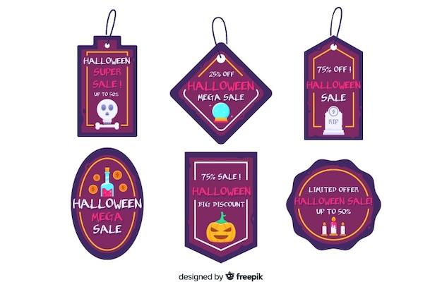 Emblemas extravagantes para coleção de venda de halloween plana Vetor grátis