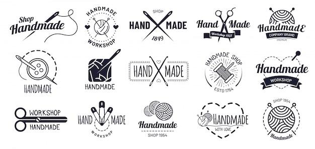 Emblemas feitos à mão. distintivo de artesanato hipster, rótulos de oficina vintage e conjunto de ilustração de logotipo de artesanato Vetor Premium