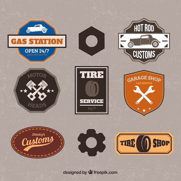 Emblemas garagem retro Vetor grátis