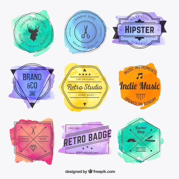 Emblemas hispter Watercolor Vetor Premium